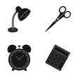 Table lamp, scissors, alarm clock, calculator. School and education set collection icons in black style vector symbol stock illustration web.