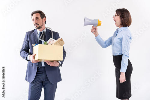 Boss female is yelling at her worker Canvas Print