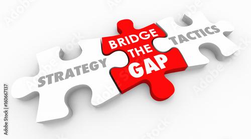 Fotografía  Strategy Tactics Bridge the Gap Action Plan 3d Illustration