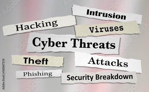 Fotografía  Cyber Threats Attacks Hacking Newspaper Headlines 3d Illustration