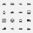 Set Of 16 Editable Transportation Icons. Includes Symbols Such As Camion, Cable Railway, Chopper And More. Can Be Used For Web, Mobile, UI And Infographic Design.
