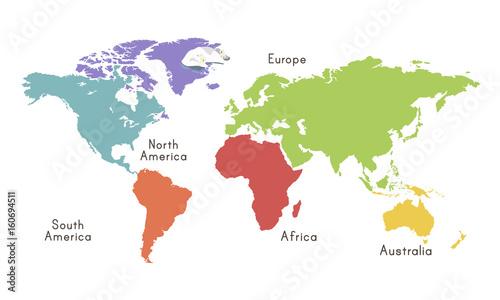 World Continent Map Location Graphic Illustration Tablou Canvas