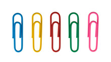 Colorful Paper Clip Isolated On White Background