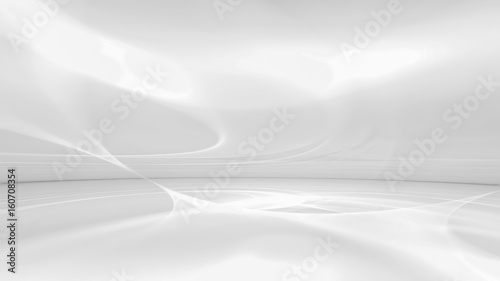 Fotobehang Fractal waves white futuristic background