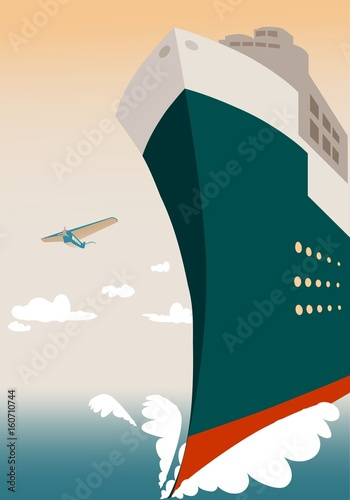 Fotografie, Obraz  Summer landscape with large transoceanic cruise ship at sunset with blue surface of the sea and airplane