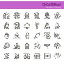 India Symbols , Thin Line And ...