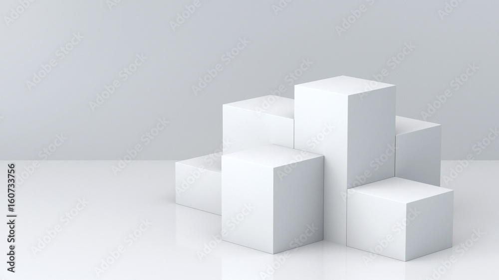 Fototapeta White cube boxes with white blank wall background for display. 3D rendering.