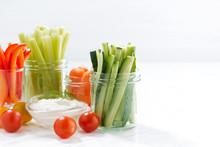 Healthy Snacks, Mixed Vegetables And Yogurt And White Background