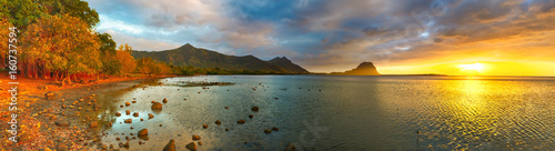 Fototapeta Amazing view of Le Morne Brabant at sunset. Mauritius. Panorama obraz