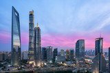 Beautiful shanghai city skyline in sunset