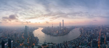 Shanghai City Skyline In Sunrise