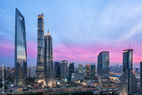 Canvas Print Beautiful shanghai city skyline in sunset