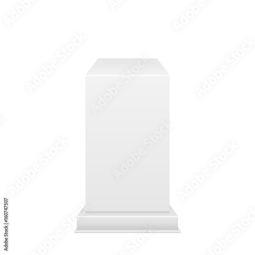 Valokuva  White Pedestal with light source isolated on white background, vector illustration