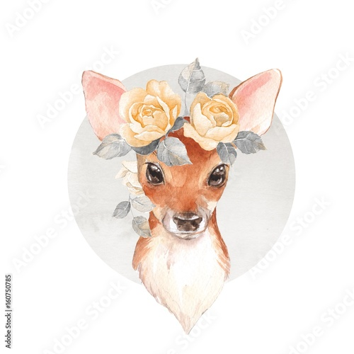 Baby Deer and flowers Poster