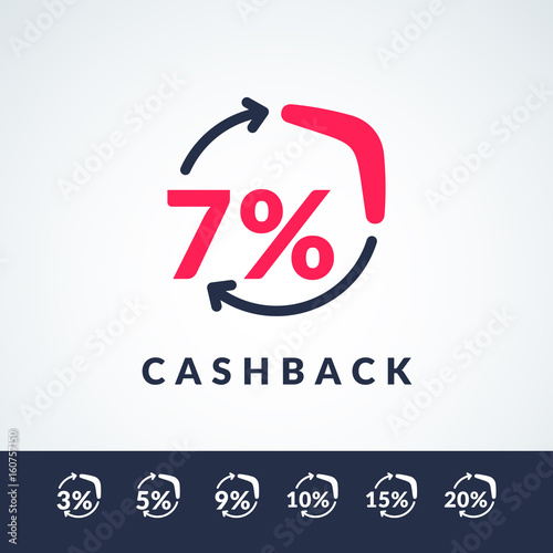 Photo Modern vector illustration of cash back with the boomerang and the percent sign