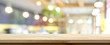 canvas print picture - Wood table top on blur restaurant interior background, panoramic banner