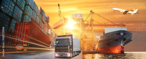 Fotografia, Obraz Logistics and transportation of Container Cargo ship and Cargo plane with workin