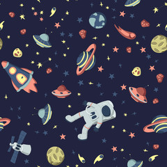 Tapeta Seamless pattern on the theme of space. Astronaut in open cosmos, space ships and a set of various planets, stars and asteroids. Vector illustration on dark background.