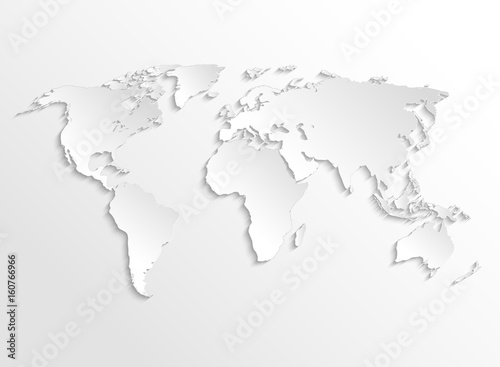 White paper earth 3d map. Vector template for business infographic