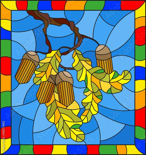 ilustracja-w-stylu-witrazu-z-galezi-debu-z-zoledzi-i-lisci-lisc