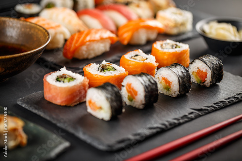 Printed kitchen splashbacks Sushi bar Delicious sushi rolls
