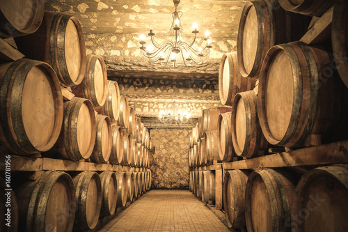 Photo Wine barrels in the cellar
