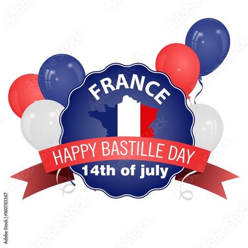 Happy Bastille Day poster in vintage style Poster