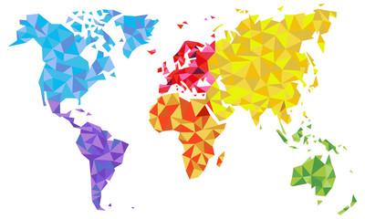 Fototapeta na wymiar Weltkarte als Kunst in Dreiecken - Farbe