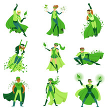 ECO Superhero Characters Set, Young Men And Women In Different Poses With Green Capes Vector Illustrations