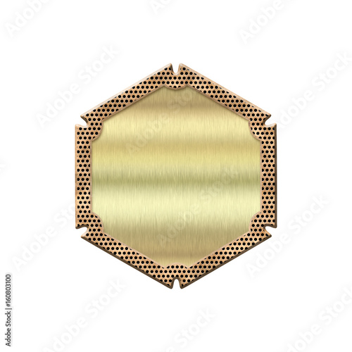 Fényképezés  Golden badge with metallic border
