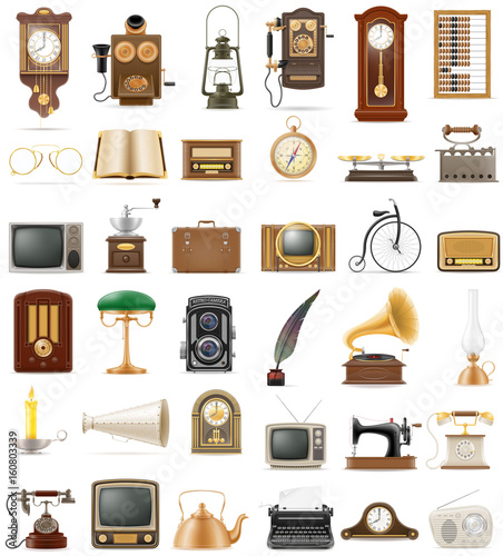 Foto  big set of much objects retro old vintage icons stock vector illustration
