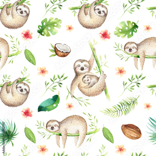 Baby animals sloth nursery isolated seamless pattern painting Canvas Print