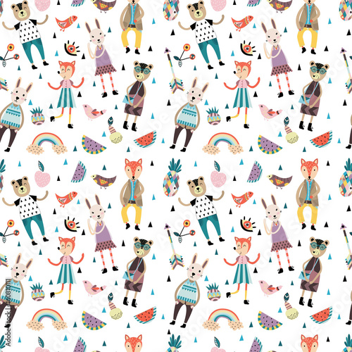 Seamless pattern with scandinavian style animals and figures, flowers, leaves