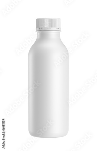 white plastic bottle isolated on white background, 3D rendering