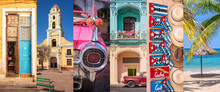 Cuba, Panoramic Photo Collage,...