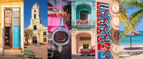 Photo  Cuba, panoramic photo collage, Cuban symbols, Cuba travel and tourism concept