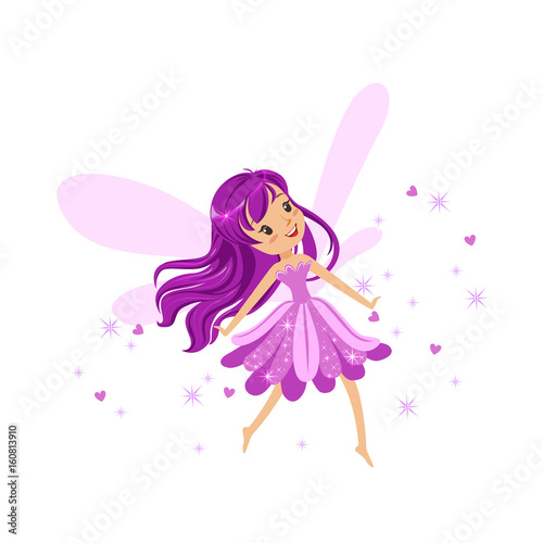 Poster Pony Beautiful smiling purple Fairy girl flying colorful cartoon character vector Illustration