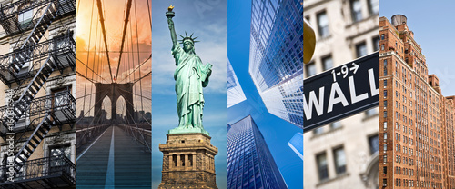 Fototapeta New York, panoramic photo collage, New York landmarks travel and tourism concept obraz