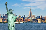 Fototapeta Nowy Jork - New York skyline and the Statue of Liberty, New York City collage, travel and tourism postcard concept, USA