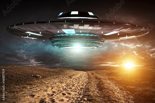 Garden Poster UFO UFO invasion on planet earth landascape 3D rendering