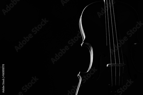 Photo Violin classical music instrument close-up