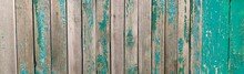Old Wood Painted In A Turquoise Green Color