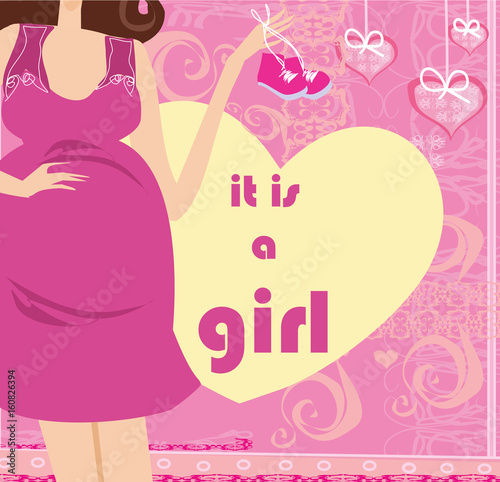 Fototapety, obrazy: It's A Girl! - pregnant woman card