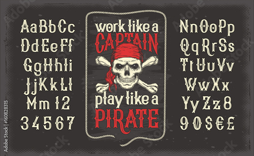 Valokuva  Vector illustration of a white vintage font, the Latin alphabet with retro pirate print with skull and crossbones