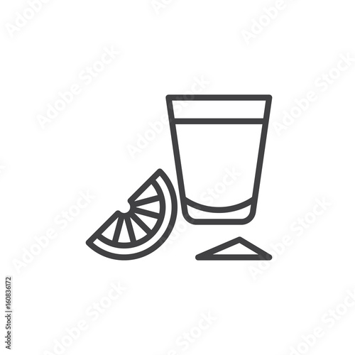 Fotografie, Obraz  Tequila shot glass with lime slice line icon, outline vector sign, linear style pictogram isolated on white