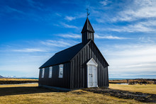 The Black Church Of Budir On The  Snaefellsnes Peninsula, Iceland