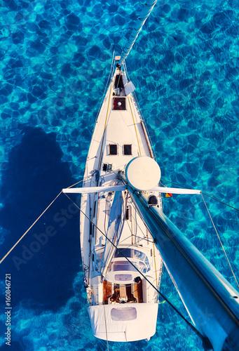 Fototapeta Yacht and clear Mediterranean sea. Ibiza, Spain