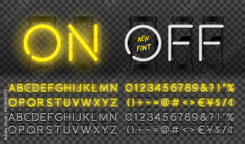 Big yellow neon set, glowing alphabet, vector Font. Glowing text effect. On and Off lamp. Neon Numbers and punctuation marks. isolated on transparent background.