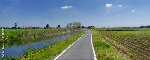 Bicycle lane along the Naviglio of Bereguardo (Italy) Wallpaper Mural
