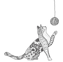 Small  Kitten And Clew Of Thread. Cat Playing. Zentangle Stylized Cat. Zen Art.